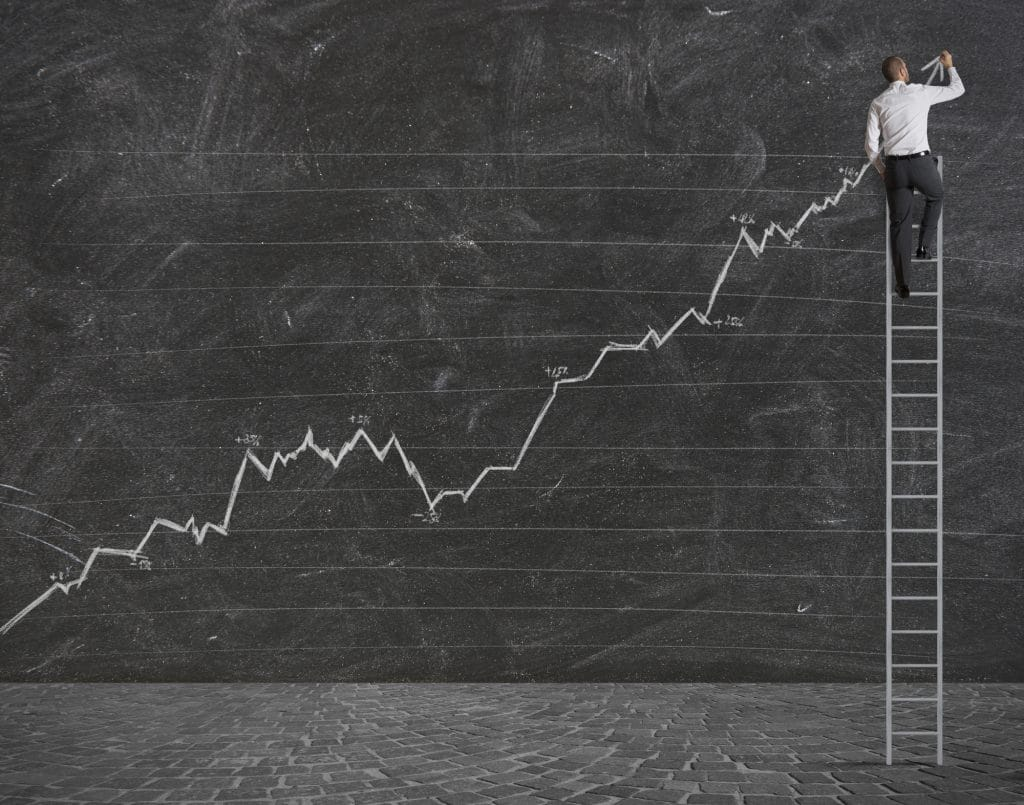 Man on ladder drawing on a wall a Positive statistical trend