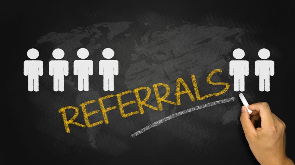 referrals concept handwritten on blackboard